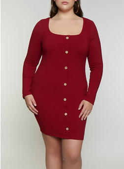 Plus Size Ribbed Button Front Dress - 3930069394307