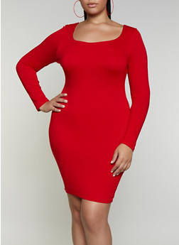 Plus Size Square Neck Bodycon Dress - 3930069394341