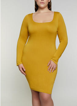 Plus Size Square Neck Bodycon Dress - 3930069394341