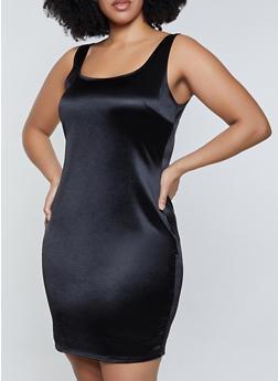 Plus Size Spandex Tank Dress - 3930069394377