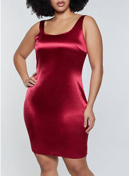 Plus Size Spandex Tank Dress - 3930069394377