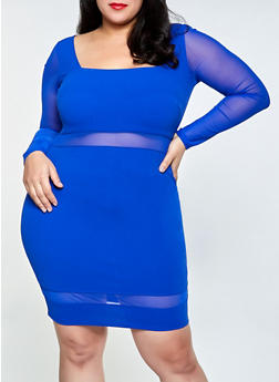 Plus Size Mesh Detail Crepe Knit Bodycon Dress - 3930069394413