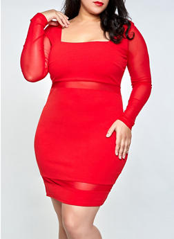 Plus Size Mesh Detail Crepe Knit Bodycon Dress - 3930069394413