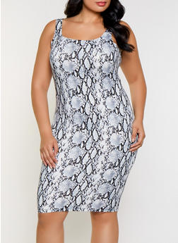 Plus Size Snake Print Midi Tank Dress - 3930069394483