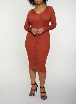 Plus Size Braided Sweater Dress - 3930069395087