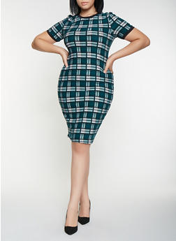 Plus Size Plaid T Shirt Dress - 3930069395338