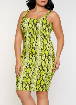 Plus Size Neon Snake Print Midi Tank Dress - 3930069395483