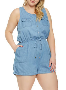 Plus Size Chambray Romper - 3930069397076