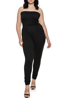 Plus Size Smocked Soft Knit Tube Jumpsuit - 3930069397411