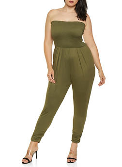 Plus Size Smocked Soft Knit Tube Jumpsuit - 3930069397411