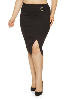 Plus Size Grommet Detail Pencil Skirt - 3930069398011