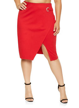 Plus Size Grommet Detail Pencil Skirt - 3930069398011