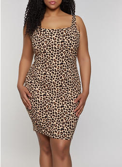Plus Size Leopard Print Tank Dress - 3930069398966