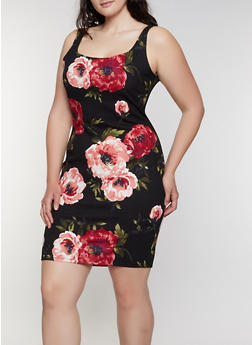 Plus Size Sleeveless Floral Bodycon Dress | 3930069398968 - 3930069398968