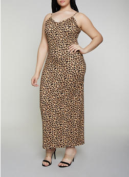 Plus Size Cheetah Cami Maxi Dress - 3930069399966