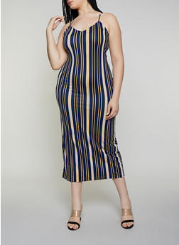 Plus Size Vertical Stripe Maxi Dress - 3930069399976