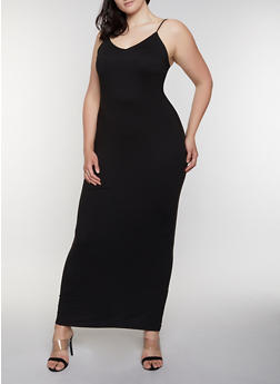 Plus Size Solid Cami Maxi Dress - 3930069399977