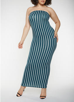 Plus Size Striped Maxi Tube Dress - 3930072240664