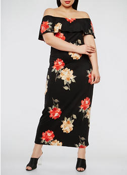 Plus Size Floral Off the Shoulder Maxi Dress - 3930072241452