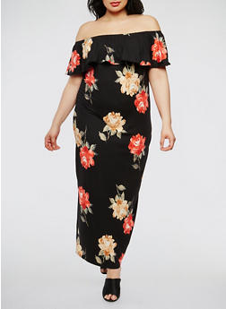 Plus Size Floral Off the Shoulder Maxi Dress - 3930072241452