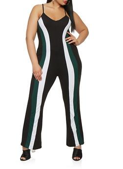 Plus Size Color Block Jumpsuit - 3930072242178