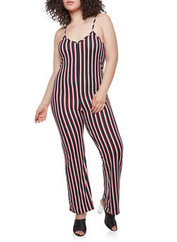 Plus Size Striped Jumpsuit - 3930072242446
