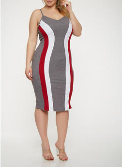 Plus Size Color Block Tank Dress - 3930072242450