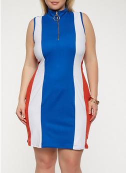 Plus Size Color Blocked Zip Neck Dress - 3930072242473
