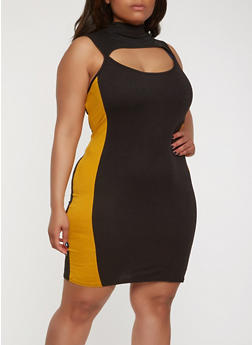Plus Size Keyhole Side Stripe Dress - 3930072242486