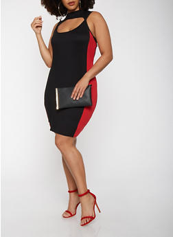 Plus Size Keyhole Side Stripe Dress - 3930072242486