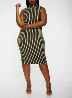 Plus Size Striped Tank Dress - 3930072242504