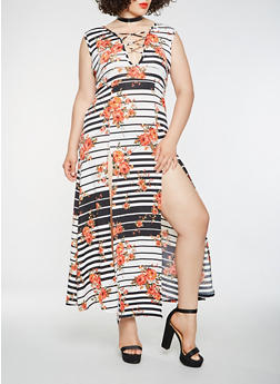 Plus Size Printed Lace Up Maxi Dress - 3930072242509