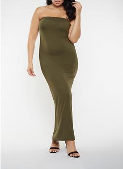 Plus Size Solid Tube Maxi Dress - 3930072242664
