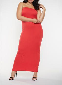 Plus Size Solid Tube Maxi Dress - 3930072242664