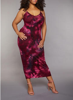 Plus Size Cami Tie Dye Maxi Dress - 3930072243254