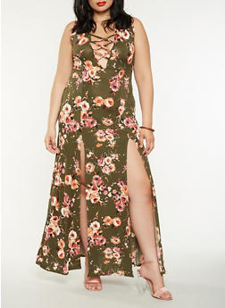 Plus Size Floral Lace Up Maxi Dress - 3930072243509