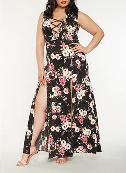 Plus Size Floral Lace Up Maxi Dress - 3930072243509