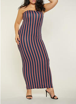 Plus Size Striped Maxi Tube Dress - 3930072243664