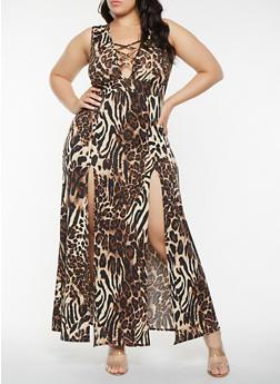 Plus Size Front Slit Leopard Print Maxi Dress - 3930072244509
