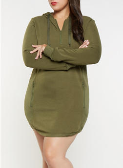 Plus Size Hooded Moto Sweatshirt Dress - 3930072290023