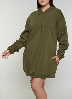 Plus Size Drawstring Hem Sweatshirt Dress - 3930072290366
