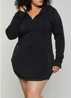 Plus Size Zip Back Sweatshirt Dress - 3930072292233