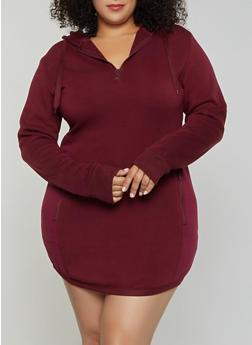Plus Size Zip Back Sweatshirt Dress - 3930072292233