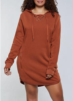 Plus Size Zip Back Hooded Sweatshirt Dress - 3930072293332