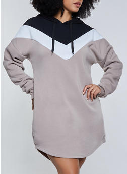 Plus Size Chevron Hooded Sweatshirt Dress - 3930072295151