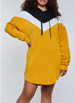 Plus Size Chevron Hooded Sweatshirt Dress - 3930072295151