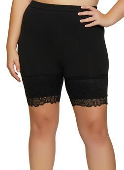 Plus Size Lace Detail Bike Shorts - 3931054212014