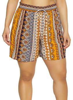 Plus Size Elastic Waist Printed Shorts - 3931056129682