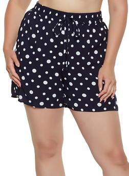 Womens Plus Size Polka Dot Shorts