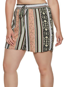 Plus Size Printed Shorts